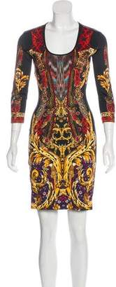 Just Cavalli Long Sleeve Abstract Print Dress