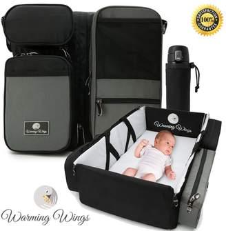 WARMING WINGS Multipurpose Portable Baby Changing Mat: Foldable travel bassinet, Playpen & Storage
