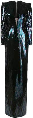 Alex Perry side-slit maxi dress