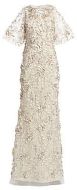 Theia Women's Embellished Flutter-Sleeve Tulle Gown - Sandstone - Size 16