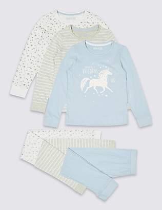 Marks and Spencer 3 Pack Unicorn Pyjamas (3-16 Years)