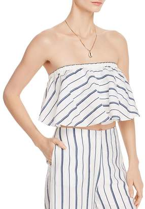 Aqua Striped Strapless Cropped Top - 100% Exclusive