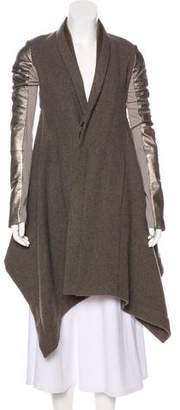 Rick Owens Wool Leather-Trimmed Coat