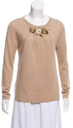 Alberta Ferretti Embellished Cashmere-Blend Sweater