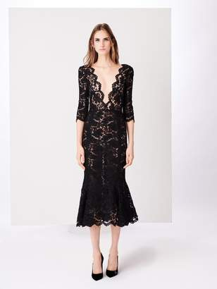 Oscar de la Renta Fern Corded Lace Illusion-Neck Cocktail Dress