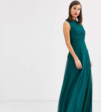 Asos Tall DESIGN Tall high neck maxi dress with wrap waist detail