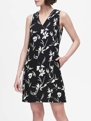 Banana Republic Floral Pleated-Shoulder Shift Dress