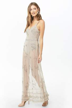 Forever 21 Sheer Beaded Crisscross Maxi Dress