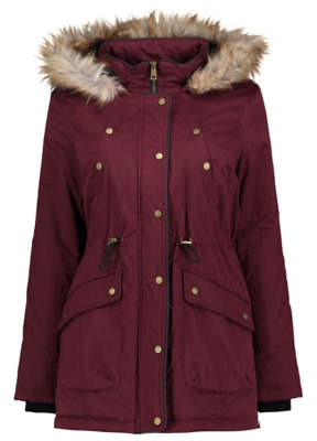 George Burgundy Soft Texture Faux Fur Lined Hooded Parka
