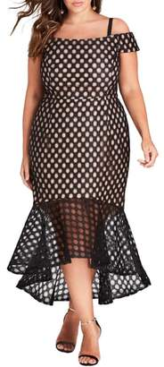City Chic Envie Cold Shoulder Mesh Mermaid Dress