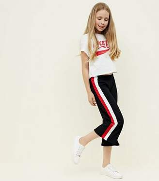 New Look Girls Black Stripe Side Ribbed Culottes