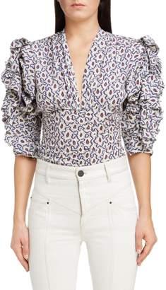 Isabel Marant Print Ruffle Sleeve Stretch Silk Top