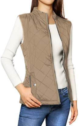 Allegra K Women's Mock Pockets Stand Collar Quilted Padded Vest M