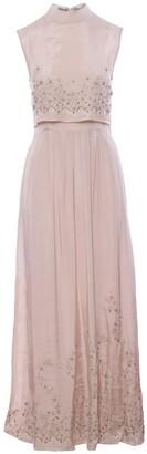 Imaima Niloofar Hand-Embroidred Maxi Dress In Pink