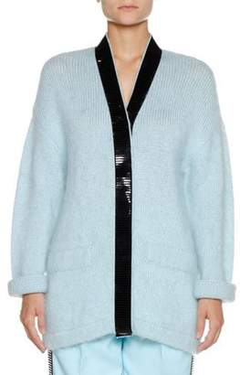 Emporio Armani V-Neck Long-Sleeve Wool-Mohair Cardigan w/ Contrast Trim