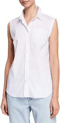 Brunello Cucinelli Sleeveless Monili-Pocket Button-Front Poplin Shirt