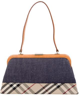 Burberry Burberry Nova Check & Denim Handle Bag al