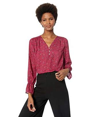 Chaus Women's Long Sleeve Button V-Neck Cosmic Dot Blouse