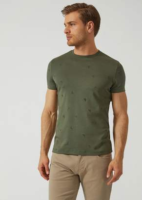 Emporio Armani Jersey T-Shirt With All Over Logo