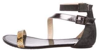 Jimmy Choo Snakeskin Trimmed Leather Sandals