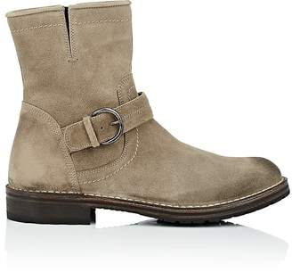Barneys New York MEN'S WAXED SUEDE MOTO BOOTS