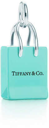 Tiffany & Co. shopping bag charm in sterling silver with enamel finish