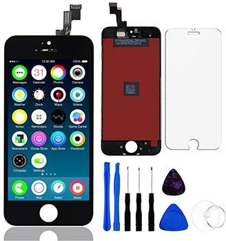 For iPhone SE LCD Display Touch Screen Digitizer Replacement with Repair Kit + Tempered Glass ( Black )