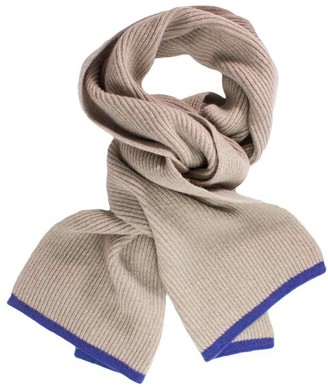 BEIGE 40 Colori Petrol Blue Small Ribbed Wool & Cashmere Scarf