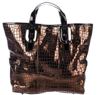 Thomas Wylde Patent Leather-Trimmed Tote Metallic Patent Leather-Trimmed Tote