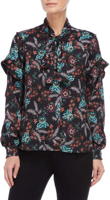 Walter Baker Kelis Floral Tie-Neck Shirt