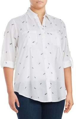 Lord & Taylor Plus Toucan Roll-Tab Blouse