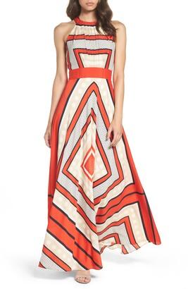 6cc1ebb247e Eliza J Scarf Print Crepe de Chine Fit   Flare Maxi Dress