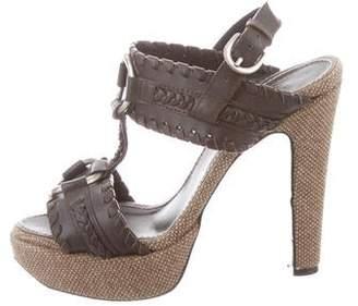 Barbara Bui Leather Ankle Strap Platform Sandals