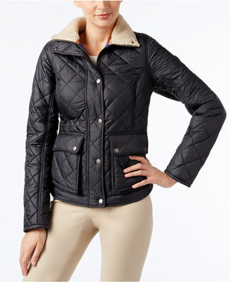 Barbour Cushat Faux-Fur-Collar Quilted Coat $249 thestylecure.com