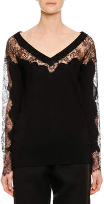 Ermanno Scervino V-Neck Long-Sleeve Lace-Inset Wool Sweater