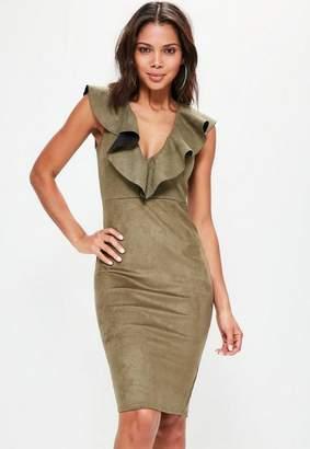 Missguided Khaki Faux Suede Frill Midi Dress