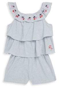 Betsey Johnson Little Girl's Cotton Chambray Tiered Romper