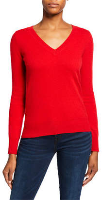 Neiman Marcus Basic Cashmere V-Neck Sweater