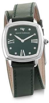 David Yurman Albion 27MM Leather Swiss Quartz Watch with Diamonds