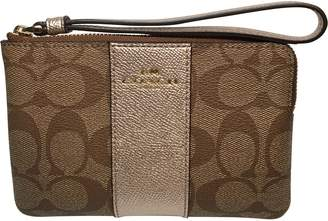 Coach F58035 Corner Zip Wristlet in Signature Coated Canvas with Leather Stripe Khaki