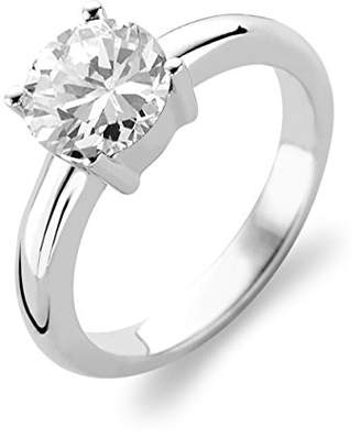 Ti Sento Milano Rhodium Plated Sterling Silver Ring with Zirconia Stone-1464ZI/56 - Size O