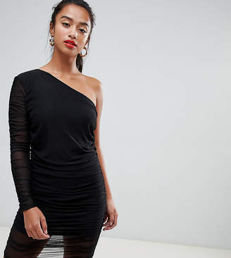 Missguided Petite One Shoulder Ruched Mesh Dress