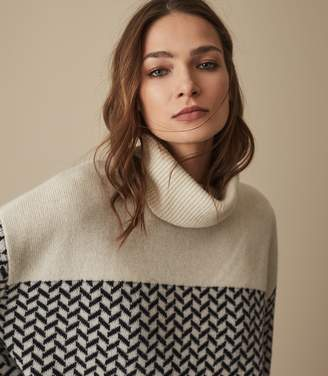 Reiss AZALEA PATTERNED ROLLNECK JUMPER Monochrome