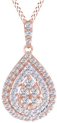 Jewel Zone US White Natural Diamond Teardrop Pendant Necklace In 10k Rose Gold (1.5 Carat)