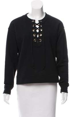 Mother Lace-Up V-Neck Sweatshirt