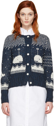 Thom Browne Navy Crewneck Whale Cardigan $720 thestylecure.com