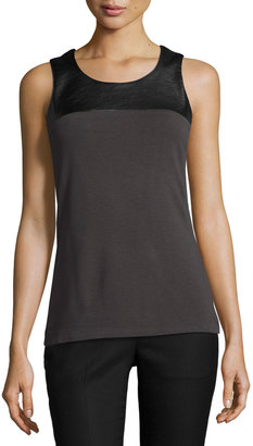 NIC+ZOE Chalet Faux-Leather Trim Top, Dark Gray $69 thestylecure.com