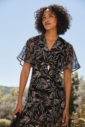 Mint Velvet Womens Black Bella Print Ruched Dress - Black