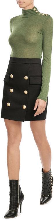 BalmainBalmain Wool Turtleneck Pullover with Embossed Buttons
