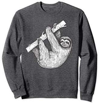 Tree Loving Sloth Hand Drawn Portrait Graphic Sweatshirt